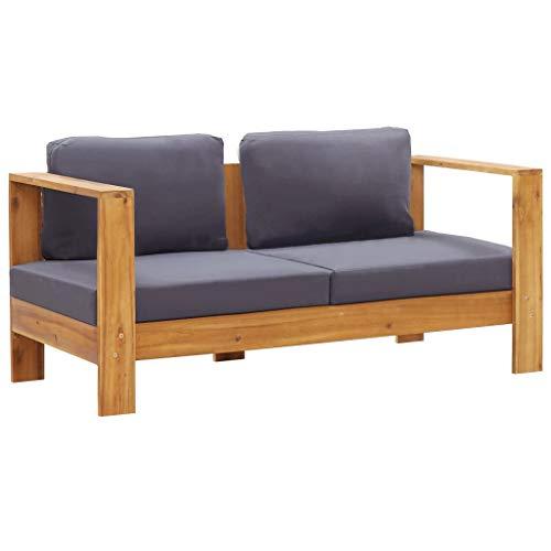 FAMIROSA Banco sofá de jardín y Cojines Madera Maciza Acacia Gris 140 cm