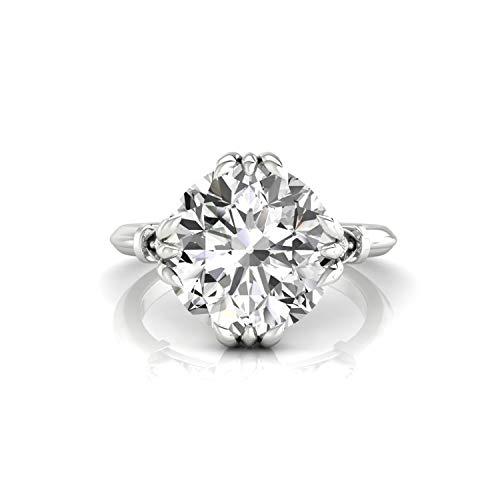 Diamondrensu Old European Cut Vintage Engagement Ring, 2.97 CTW Round OEC Colorless Moissanite Wedding Ring for Women, Unique Heritage Ring, 925 Silver, Ring Size 9.5 US