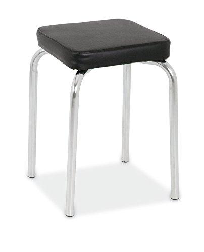 Sitzhocker Metallhocker Stapelhocker | Schwarz | Metall | Kunstleder