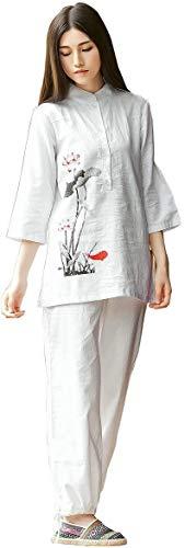 HLZY Uniformes Tradicionales Chinos de Tai Chi Kung Fu Traje de meditación Zen para Mujer Tai Chi Uniforme Uniforme Kung FU Ropa de algodón y Ropa de Yoga de Lino (Color : Lotus, Size : UK S/Tag M)