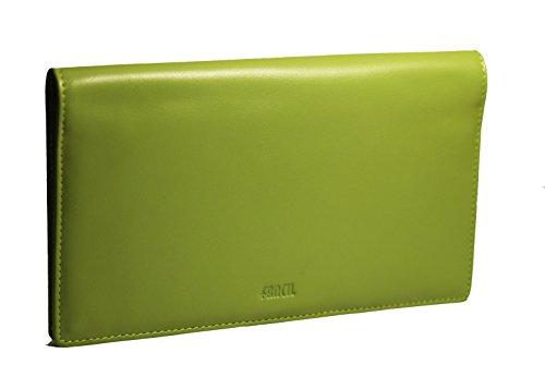 FANCIL fancil-porte Scheckheft Leder/Tür Karten/Tür Währung/Tür stylo-couleur vert-11,3cmx18,8cm