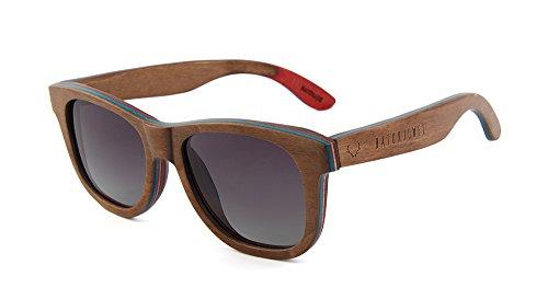 NATURJUWEL design - Occhiali da sole marrone in legno di skateboard con lenti polarizzate UV 400 donna uomo unisex