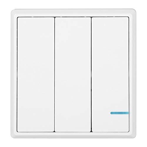 Interruptor de control remoto, interruptor de relé de receptor de control múltiple, kit de interruptor de control de lámparas fácil de instalar para oficina en casa(3-way wireless switch, pink)