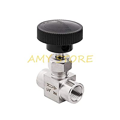 """Fincos Stainless Steel SS304 Needle Valve Shut Off Flow Control 1/8'' 1/4'' 1/2'' Female Threaded BSPP for Water Gas Oil Pipe - (Specification: 1/2"""") from Fincos"""