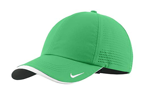 Nike Authentic Dri-Fit Low Profile Swoosh Embroidered Perforated Baseball Cap (Lucky Green, One Size)