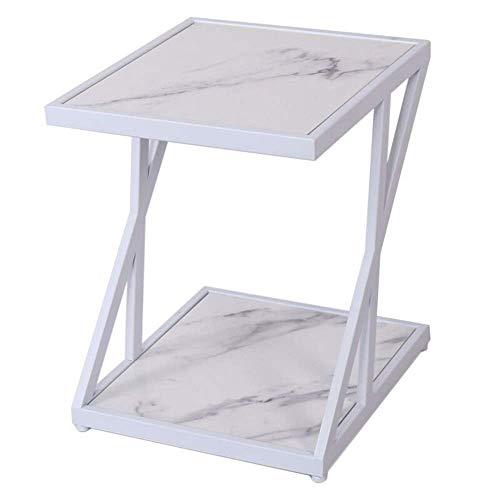 Home&Selected furniture/bijzettafel woonkamer marmer klein vierkante tafel salontafel balkon vrije tijd tafel 2 dieren opslag rek, 17,7 inch x 15,7 inch x 19,6 inch (kleur: wit)