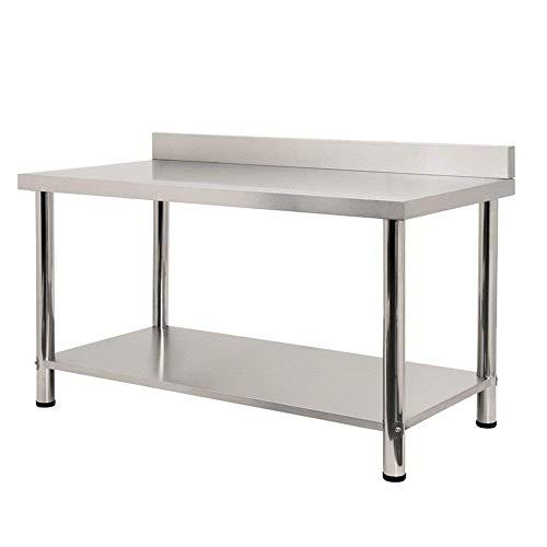 Aufun Edelstahl Arbeitstisch, Küchentisch Tisch Höhenverstellbar Edelstahltisch Arbeitstisch für Küche Bar Restaurant mit Aufkantung, Silber 150 x 60 x 85cm