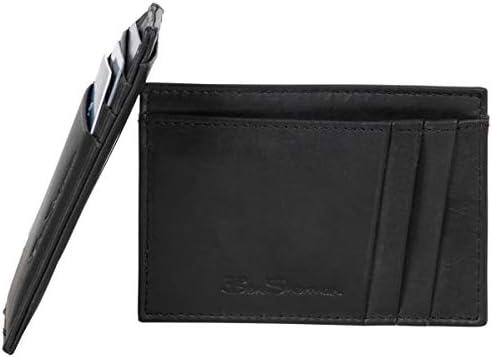 Ben Sherman Men s Manchester Bifold Full Grain Leather RFID Minimalist Gift Box Black Marble product image