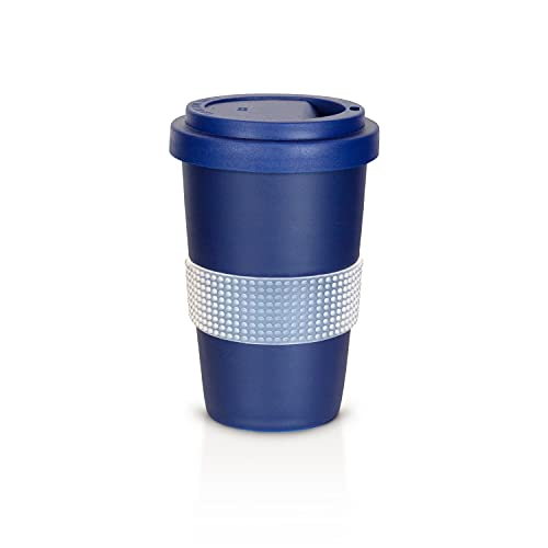Mahlwerck Kaffeebecher to go, Porzellan Coffee-to-go Becher, mit Deckel, 400 ml, matt dunkelblau