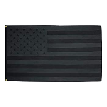KEMNOLE Black American Flag 3x5 Ft All Black US Flags Polyester with Double Sided Printing Double Stripes Brass Grommets - Durable & Fade Resistant USA Banner