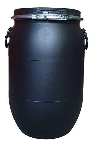 60 L Weithalsfass, Deckelfass mit Spannring, dicht verschließbar blau, grün, schwarz (schwarz)