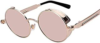 Round Metal Sunglasses Steampunk Fashion Glasses Brand Retro Vintage Eyewear UV400 (Mirror Pink)
