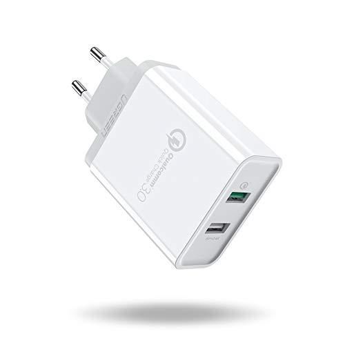 UGREEN Cargador Rápido 2 Puertos USB QC 3.0 y 5V/2.4A, 30W Cargador Pared Carga Rápida Quick Charge 3.0 para Samsung S10 S9, iPhone XS, BQ Aquaris X, LG G6 G5, Xiaomi Mi9 Mi8 Mi6, HTC etc. (Blanco)