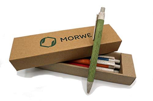 MORWE Nachhaltige Kugelschreiber aus Pappe und Weizenstroh   Farbenfrohe Stifte mit buntem Design   Set aus 5 ökologischen Kugelschreibern