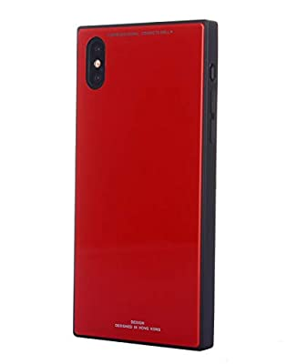 Square Elegant Case Compatible with iPhone Xs Max (6.5 in) by Gorilla Gadgets, Chic 9H Tempered Glass Ceramic Case, Stylish Cover, Anti-Scratch, Shock-Proof Protective Case (RED, iPhone Xs Max) by Gorilla Gadgets