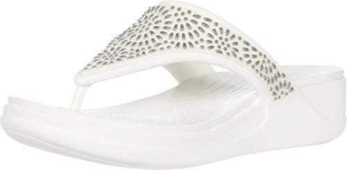 Crocs Damen Monterey Diamante Wedge Flip Zehentrenner, Beige (Oyster/Champagne 174), 36/37 EU