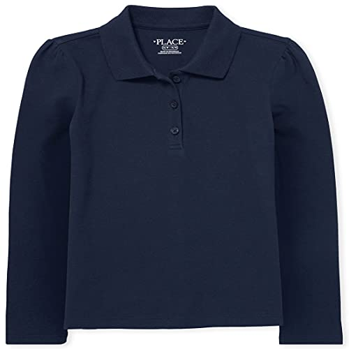 The Children's Place Girl's Long Sleeve Pique Polo, Tidal, Large