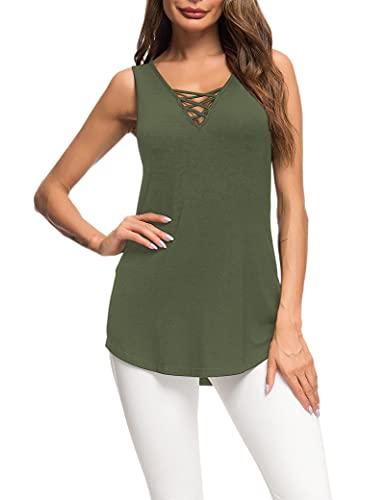 Camisetas sin Mangas para Mujer Tops de Verano Camisas Informales Cami Blusa con Cordones básica Verde...