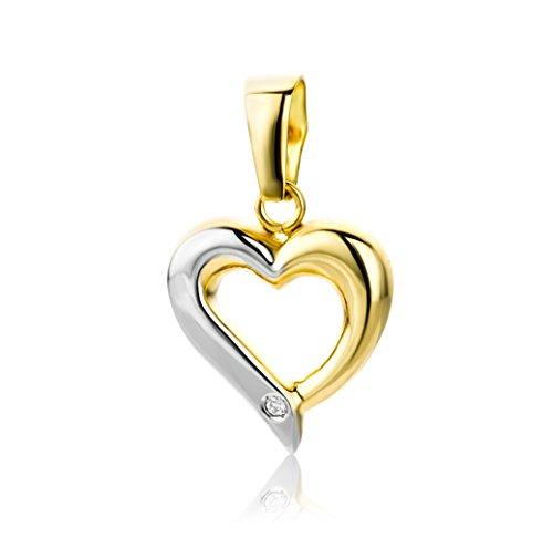 Miore Anhänger Damen 0.01 Ct Diamant Kettenanhänger Herz aus Bicolor Weißgold und Gelbgold 18 Karat / 750 Gold, Schmuck mit Diamant Brillant