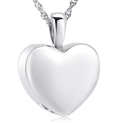 shajwo Collar de urna de corazón de cremación, joyería de cenizas para mujeres y hombres, colgante de recuerdo conmemorativo medallón de cenizas
