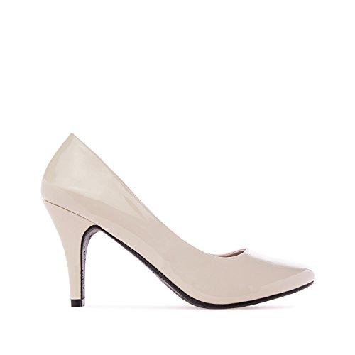 Elegante Pumps aus beigem Lacklederimitat für Damen und Mädchen mit 9,5 cm Absatz – High-Heels – AM422 – In verschiedenen Farbvariationen – Größe EU 35