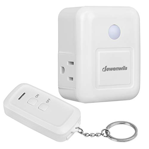 DEWENWILS Remote Control Outlet with 2 Side Outlets, No Interference Remote Outlet Switch for Electronic Appliances and Holiday Decor, 15A/1875W Heavy Duty, 100 Feet RF Range, White