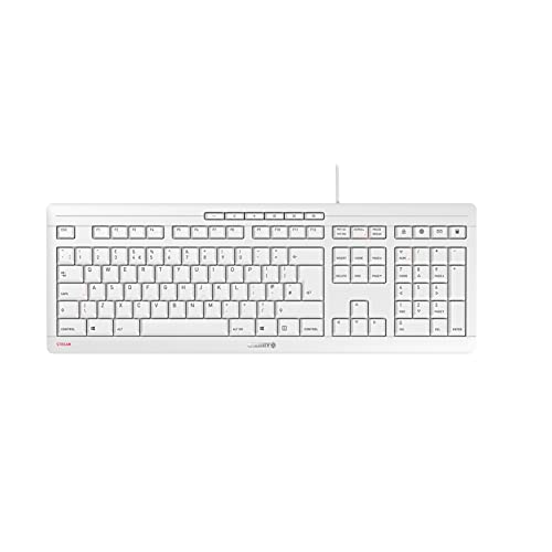 CHERRY Stream Keyboard Tastatur, weiß/grau, US-Englisches Layout mit Euro Symbol, JK-8500EU-0
