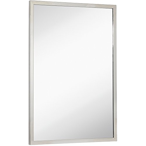 Hamilton Hills Commercial Contemporary Industrial Strength Wall Mirror Polished Stainless Metal Silver -