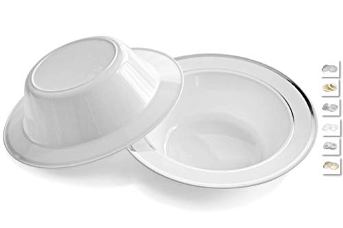 ' OCCASIONS' 120 Bowls Pack, Heavyweight Disposable Wedding Party Plastic Plastic Dessert Ice Cream Bowls (6 oz Ice cream bowls, White & Silver Rim)
