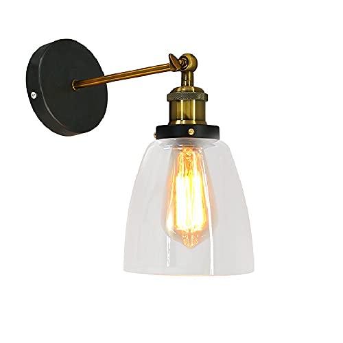 Lightsjoy Lámpara de Pared Vintage Lámpara Cristal Industrial Luz de Metal Apliques de Pared Retro Iluminación E27 40W para Dormitorio, Pasillo, Escaleras, No incluye Bombilla