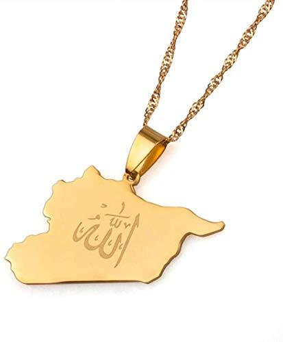 JIUJINLandkarte Syrien Anhänger Allah Name Gold Farbe Syrer Karten Halskette Schmuck Geschenke