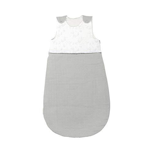 Nattou PURE Ganzjahres-Schlafsack aus 100% Baumwolle mit Reißverschluss und Druckknöpfen, 90cm, Weiß/Grau, 998086