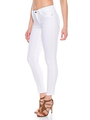ONLY Damen Skinny Jeans Hose mit Stretch in weiß Regulare Leibhöhe, Farbe:Weiß, Weite/Länge:S/30