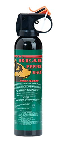 "Mace Brand Maximum Strength Bear Spray, Bear Defense Pepper Mace for Camping and Hiking, 35' Spray Range, 9"" x 2"" (80346)"