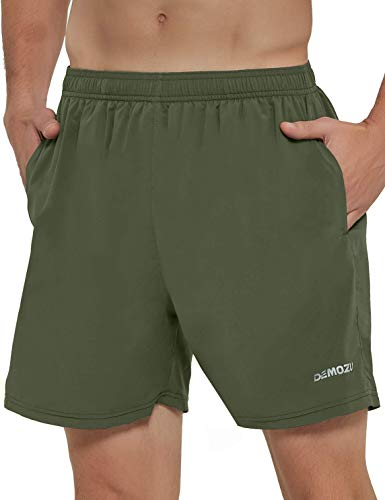 DEMOZU Men's 5 Inch Running Shorts Lightweight Quick Dry Workout Athletic Gym Training Tennis Shorts with Pockets, Army Green, M