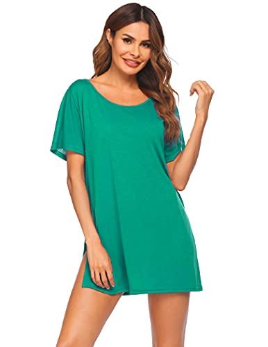 Ekouaer Vestido de playa para mujer, de manga corta, poncho de playa, cuello redondo, traje de baño para verano, tallas S-XXXL, verde, S