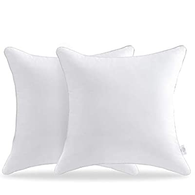 FavriQ 100% Cotton Cover 18 x 18 Pillow Inserts (Set of 2) - Throw Pillow Inserts - Square Interior Sofa Pillow Inserts - Decorative Pillow Insert Pair - White Couch Pillow