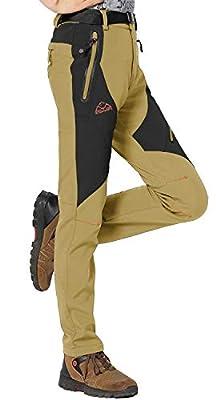 Rdruko Women's Waterproof Windproof Fleece Lined Warm Hiking Ski Snow Insulated Pants(Khaki, US XL)