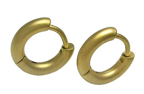 Kikuchi opklapbare creolen goud mat 12mm Ø SLIM tube titanium staafjes roestvrij staal oorbellen ERTS011