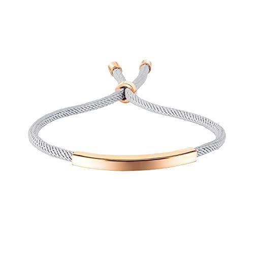 Bianlang Pulsera de la Pulsera Simple Design Bracelet Simple y Personalizado Tejido Titanio Acero Pareja Pulsera ( Color : Steel Bracelet Rose Gold )