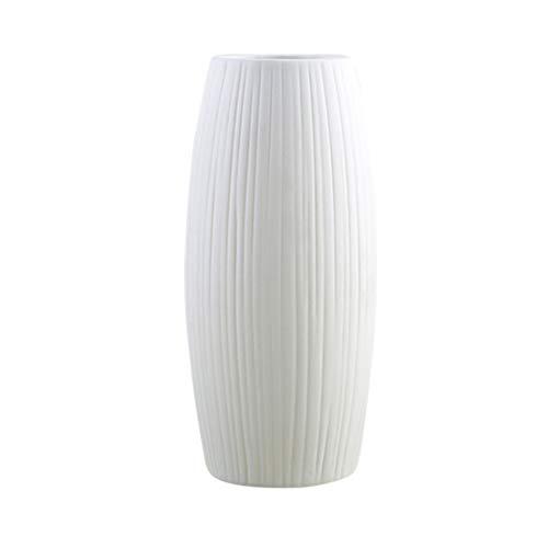 VOSAREA Minimalistische Keramikvase für Heimbüro Dekoration Trockenes Blumengesteck - (Weiß)