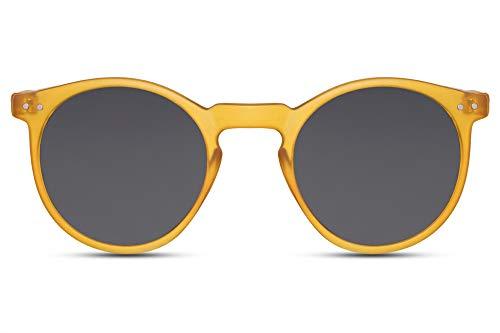 Cheapass Gafas de Sol Redondas Montura Amarillo Mate con Cristales Oscuros Protección UV400 Vintage Hombre Mujer