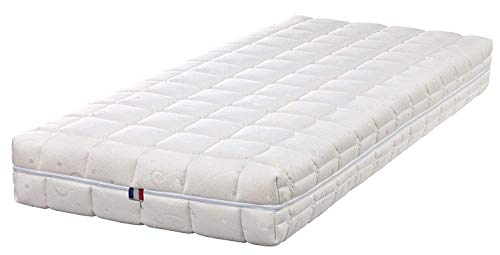 King of Dreams Set of 2 Mattress – 20 cm Very Firm Memory Foam + Latex Polished – Removable Cover 4 Sides Washable 30° + 2 Memory Foam Pillows 60 x 60 cm Free 70 190, Fabric, white, 2x80x200