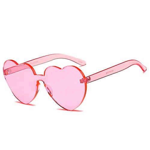 Sonnenbrille Polarisiert für Damen/Dorical Mode Heart-shaped Candy Colored Übergroße Sonnenbrille mit UV-400 Schutz Vintage Damenbrillen Brille Super Coole Frauen Sunglasses Travel Eyewear(B)