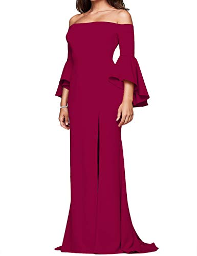 ECDAHICC Women' s Off The Shoulder Bell Sleeve High Slit Formal Evening Party Maxi Dresses(WR,XL) Wine Red (Apparel)