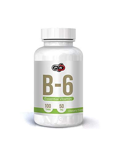 Pure Nutrition Essentielles VITAMIN B6 Pyridoxine Hcl Hochdosiert 50 mg 50 Tages Vegan Tabletten|Energie und Konzentration|Gute Laune Nerven Gedächtnis Immunsystem|Ohne Künstliche Zusätze Gentechnik