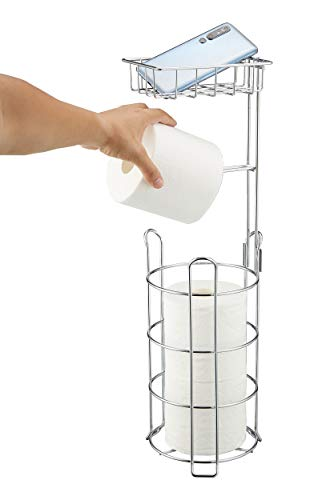 Toilet Paper Holder, Free Standing Bathroom Tissue Roll Holders with Storage Shelf and Dispense for...