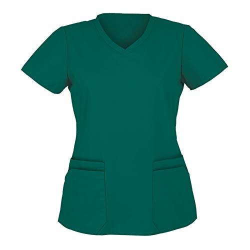 VEMOW Tops de Mujer Uniforme de Trabajo Uniforme Estampado Camisa de Manga Corta Top con Cuello en V, Ropa de Trabajo Enfermera Médicas Bolsillo Uniforme SPA Salón de Belleza Ropa