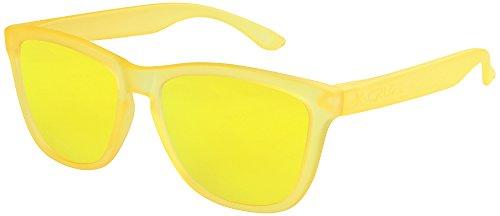 X-CRUZE® 9-060 Gafas de sol Nerd polarizadas estilo Retro Vintage Unisex Caballero Dama Hombre Mujer Gafas - amarillo-transparente mate/amarillo tipo espejo