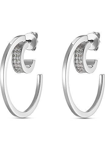 JETTE Silver Damen-Creolen Moony 925er Silber 48 Zirkonia One Size Silber 32010627